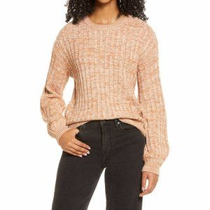 BLANKNYC Toffee Brown Heather Ribbed Crewneck Sweater Size XS